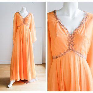 Vintage Empire Waist Beaded Wizard Sleeve Gown